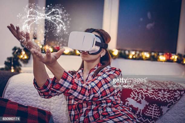 Woman in virtual world