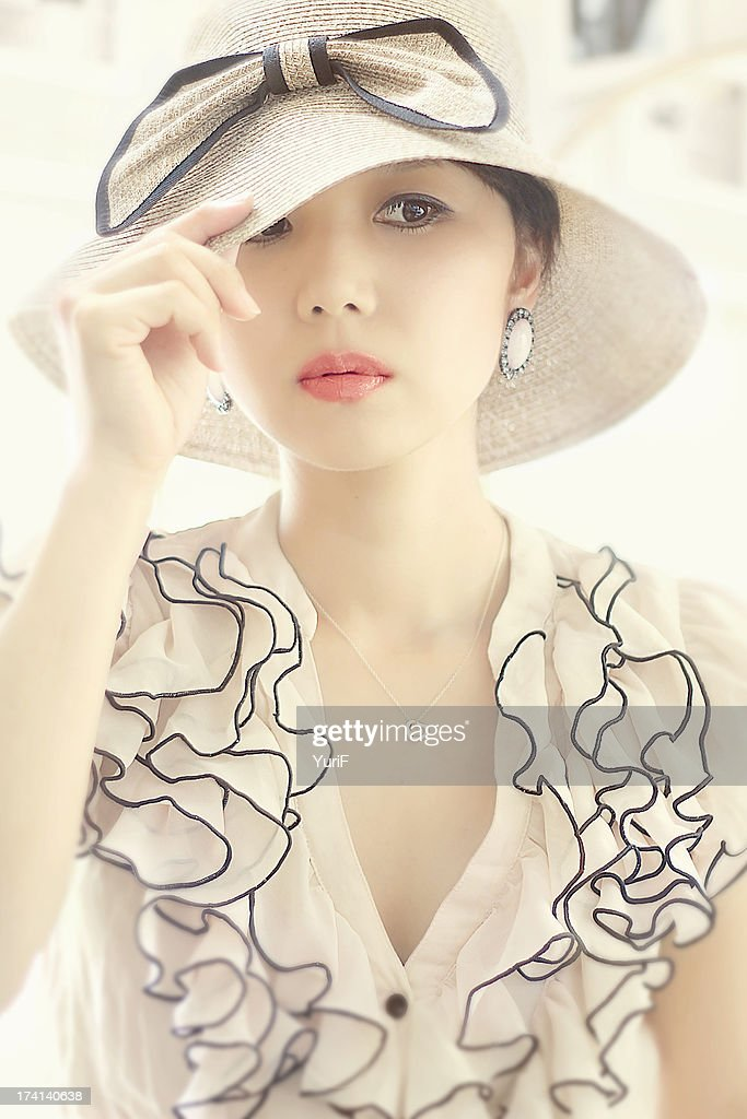 Woman in white. : Stock Photo