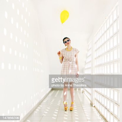 Woman in white room : Stock Photo