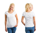 Woman in white round neck T-shirt