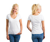 Woman in white V-neck T-shirt