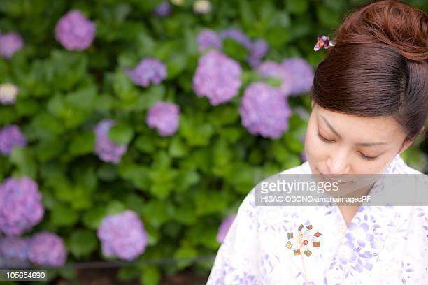 Woman in yukata, Ibaraki Prefecture, Honshu, Japan