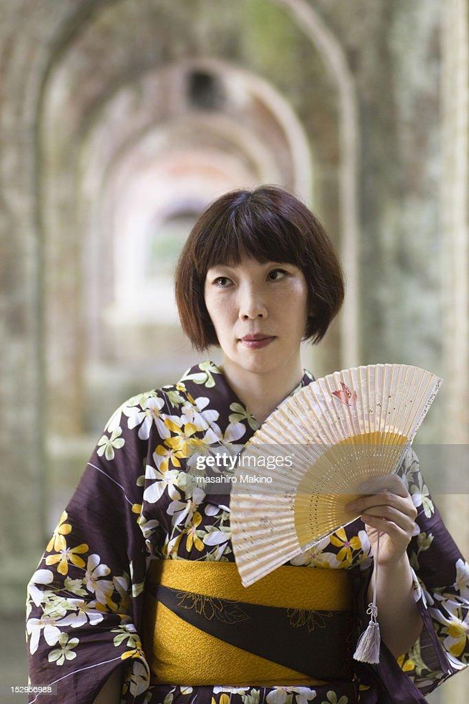 Woman in yukata : Stock Photo
