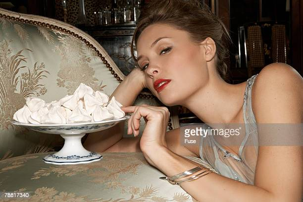 Woman Indulging in Dessert