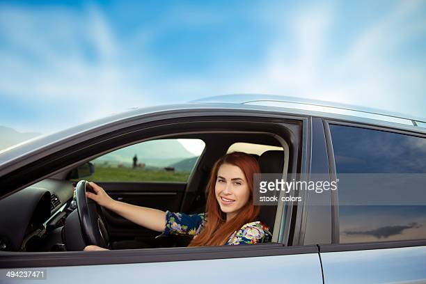woman inside car