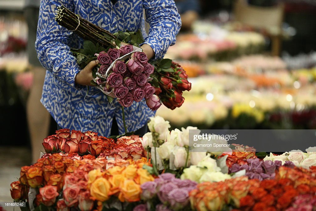 A woman inspects flowers on display during Valentines Day at Sydney Flower Market on February 14, 2013 in Sydney, Australia. Due to an unusually hot January in Australia an increasing number of roses have been sourced from South America and Africa to ensure Valentines supplies don't run out.
