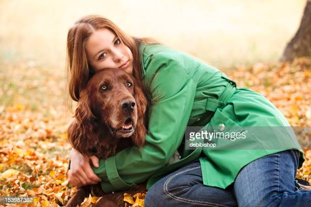 Woman & Irish Setter Dog Pet Autumn Nature