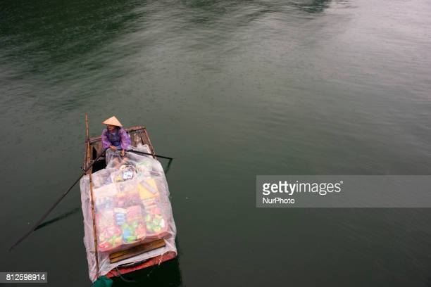 A woman is about to sell her merchandise to the tourist boats that anchor in the bay of Ha Long The bay of Ha Long is an extension of water of...