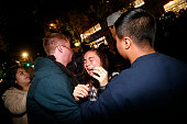 A woman is being tended to after she fell in a scuffle with the police on Telegraph Ave during a demonstration over recent grand jury decisions in...