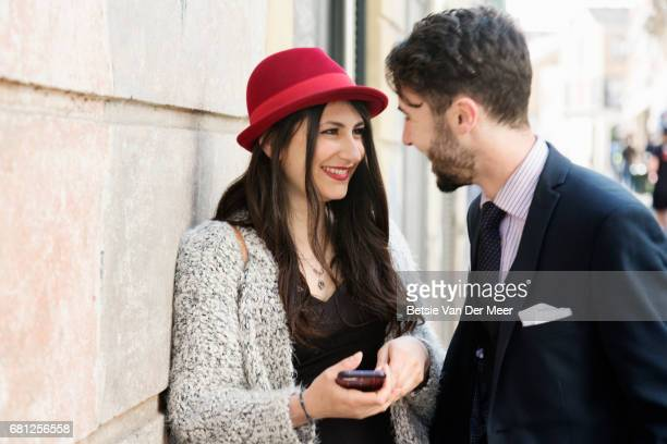 Woman is meeting boyfriend in urban street