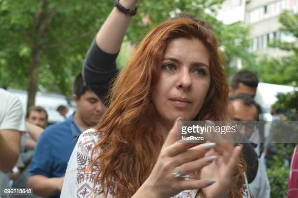 A woman is seen during the 'Justice March' to protest against the Turkish government held by the main opposition Republican People's Party in Ankara...