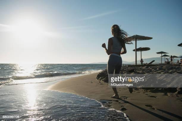 Woman jogging at the morning.