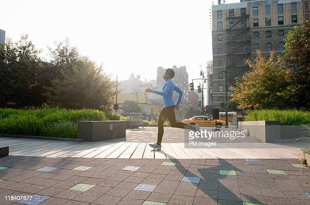 Woman jogging in New York City
