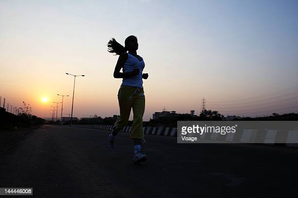 A woman jogging in the morning
