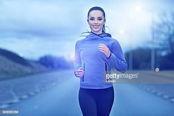 女性の夜には、屋外ジョギングコース
