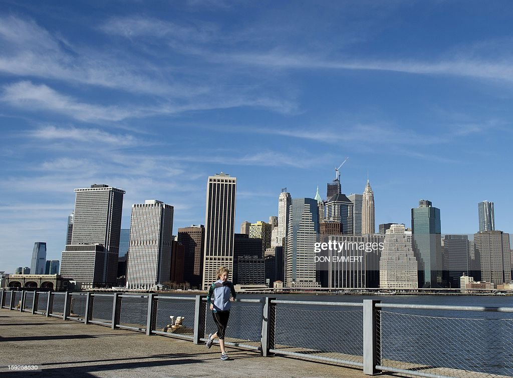 A woman jogs along the waterfront at Brooklyn Bridge Park January 10, 2013 in New York. Unseasonable warm weather made for a pleasant day in the park. AFP PHOTO/DON EMMERT
