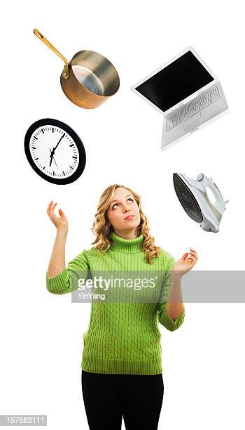 Woman Juggling, Busy Multi-tasking and Balancing Occupation and Time Stress