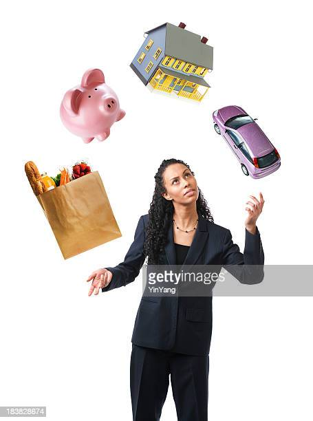 Woman Juggling Stress and Debts, Multi-tasking to Balance Finances, Savings