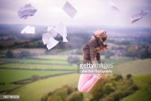 Woman jumping in air : Stock Photo