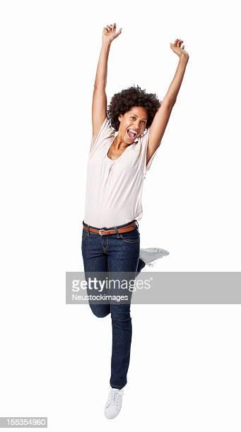 Frau springen in der Feier-isoliert
