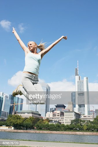 Woman Jumping : Stock Photo