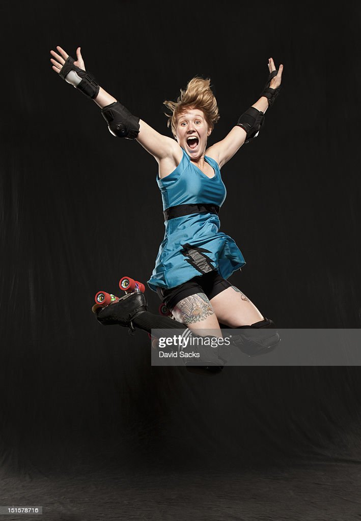 Woman jumping portrait : Stock Photo