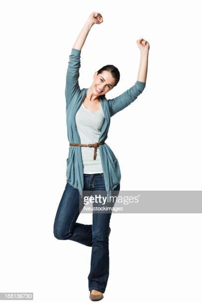 Frau springen mit Freude-isoliert