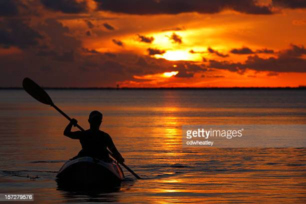 woman kayaking during sunset in Florida Keys