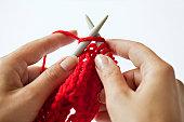 Woman knitting, close-up