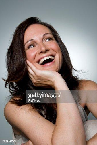 Woman laughing, close-up : Stock-Foto