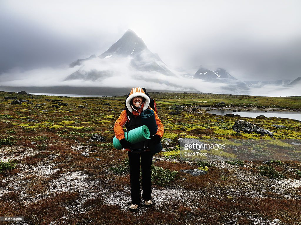 woman laughing in the wilderness : Stock Photo