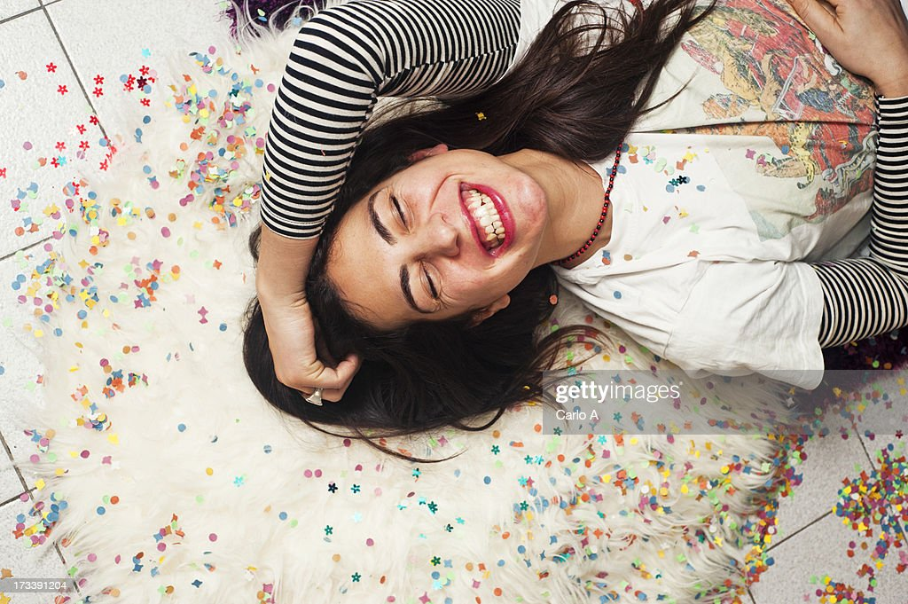 Woman laughs : Stock Photo