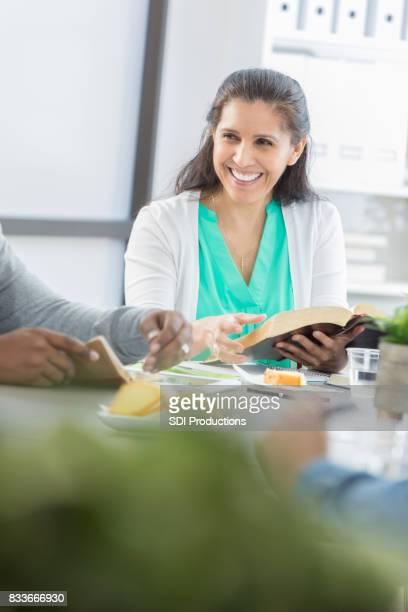 Woman leads office Bible study
