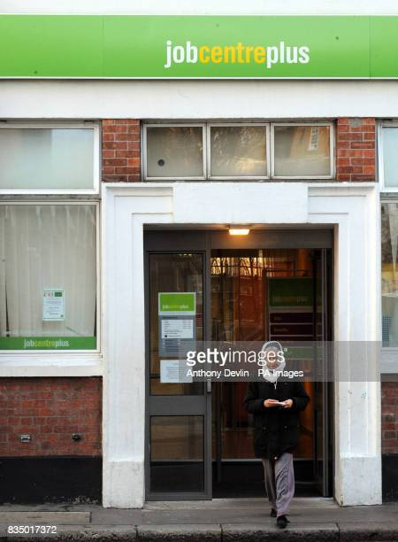 A woman leaves a Job Centre Plus in Westminster London as record numbers of people are being made redundant and job vacancies are falling as...