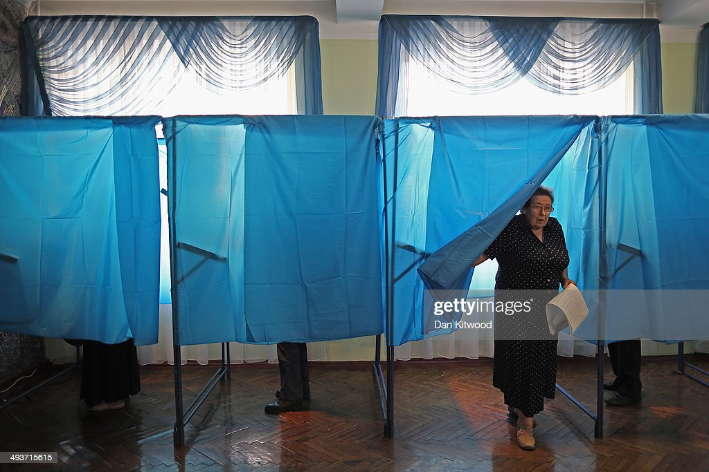 A woman leaves a polling booth after voting on May 25, 2014 in Kiev, Ukraine. The Ukrainian Presidential election is taking place today.