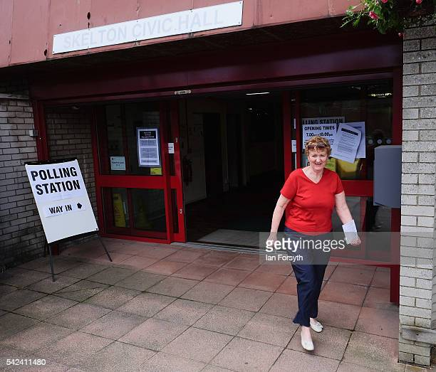 A woman leaves a polling station at the Civic Hall in Skelton as voters head to the polls to cast their vote on the EU Referendum on June 23 2016 in...
