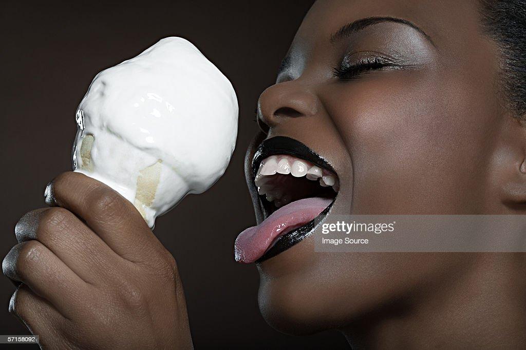 Licking ice cream tongue