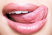 Woman licking lips, Close up of a woman's mouth