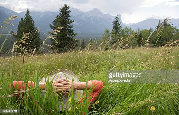 Woman lies in deep grasses, in mountain meadow