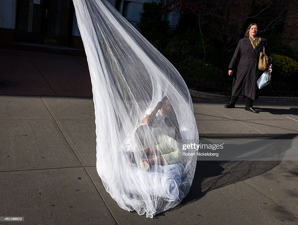 A woman lies underneath a mosquito net November 21, 2013 during a photo shoot in the Brooklyn borough of New York.