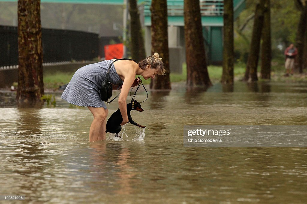 A woman lifts her dog up after flood waters became too deep for it to continue walking along the East River Bikeway after Hurricane Irene dumped more than six inches of rain August 28, 2011 in New York City. The hurricane hit New York as a Category 1 storm before being downgraded to a tropical storm.