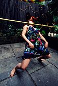 Woman limbo dancing