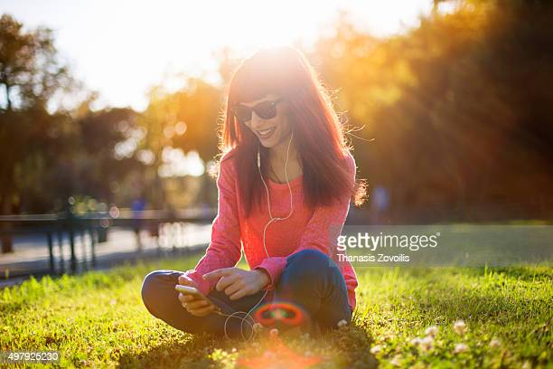 Woman listening music outdoor