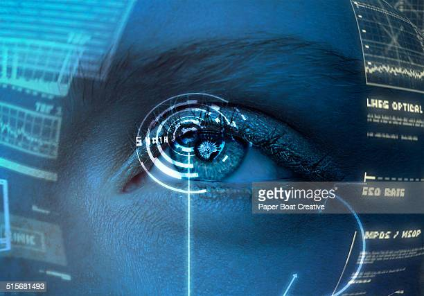 Woman looking at a hologram screen in front of her