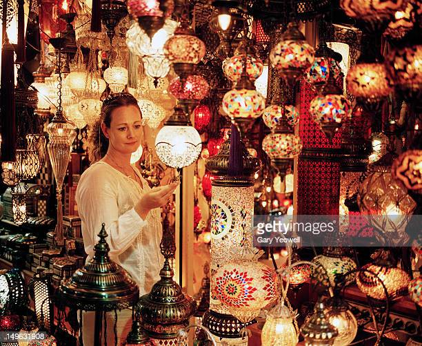 Woman looking at lamps in The Grand Bazaar