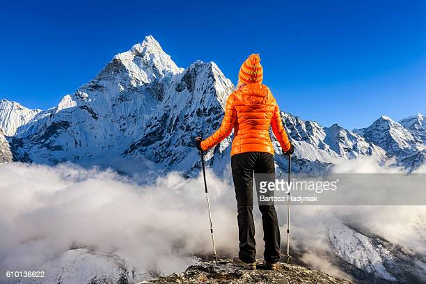 Woman looking at Mount Ama Dablam, Mount Everest National Park