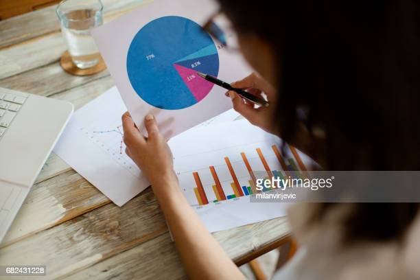 Woman looking at pie chart
