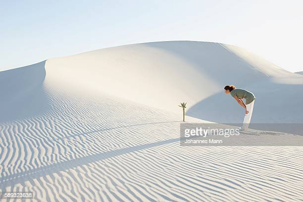 Woman Looking at Tree Growing in Desert
