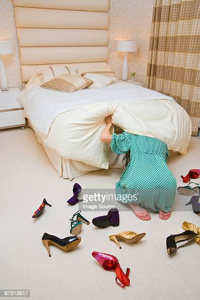 Woman looking for shoes