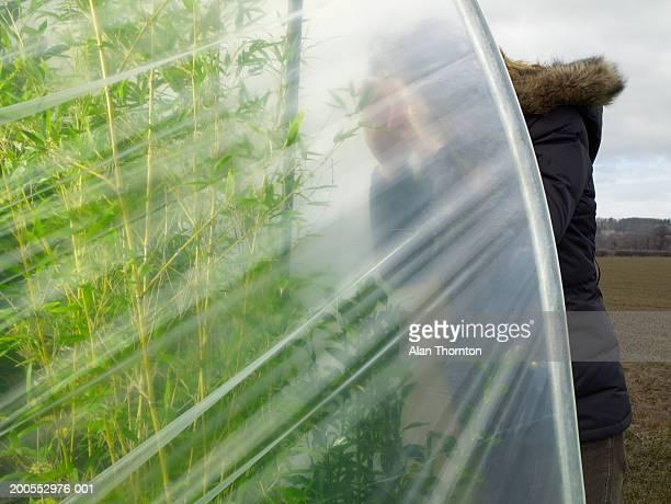 Woman looking inside greenhouse